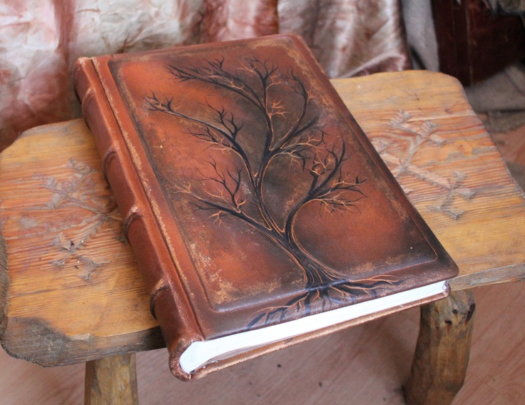 Wedding leather Photo album 13 x 9  with Tree of Life for 300 photos with custom engraving. $185.00, via Etsy.