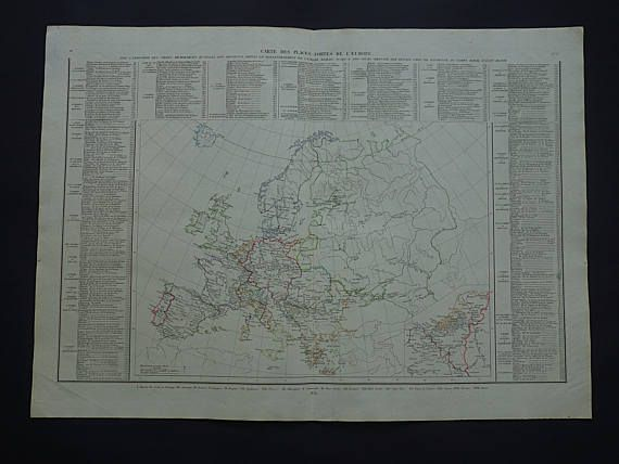 EUROPE old map of Europe 1835 LARGE original antique military