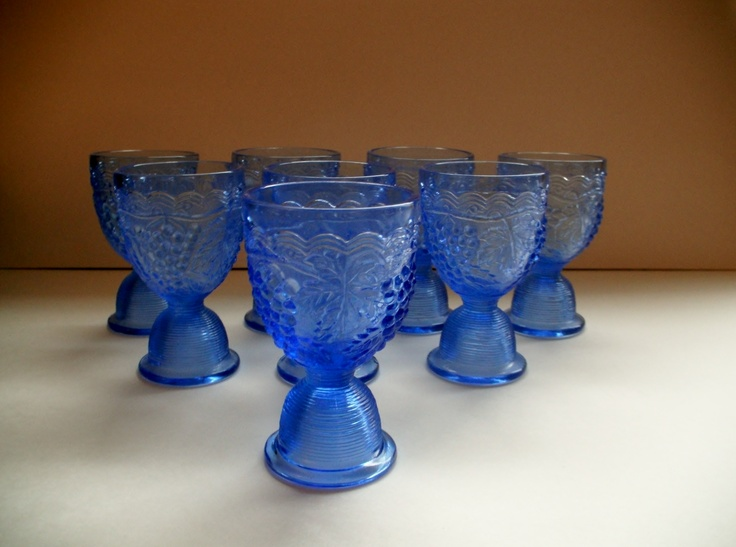 Beautiful Imperial Glass Egg Cups. Such a gorgeous blue.