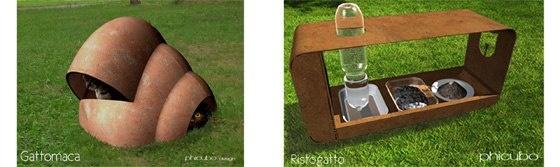 Gattomaca  E' una cuccia concepita per offrire riparo a più gatti. E' in cotto e il suo interno può contenere tutto l'occorrente: cesti, scatole, coperte, etc...