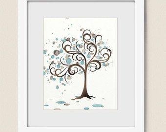 Azul y marrón acuarela arte Ave impresión, caprichoso, familia, árbol acuarela 8 x 10 arte, círculos, colores naturales, decoración de la pared de naturaleza (136)