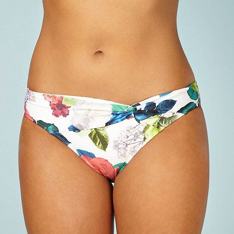 Reger by Janet Reger Designer white floral twist bikini bottoms- at Debenhams.com