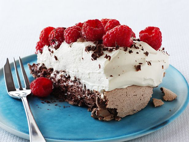 Chocolate Raspberry Pavlova -- Gluten-free!  (Also can be divided into multiple layers for a Double Chocolate Raspberry Pavlova)