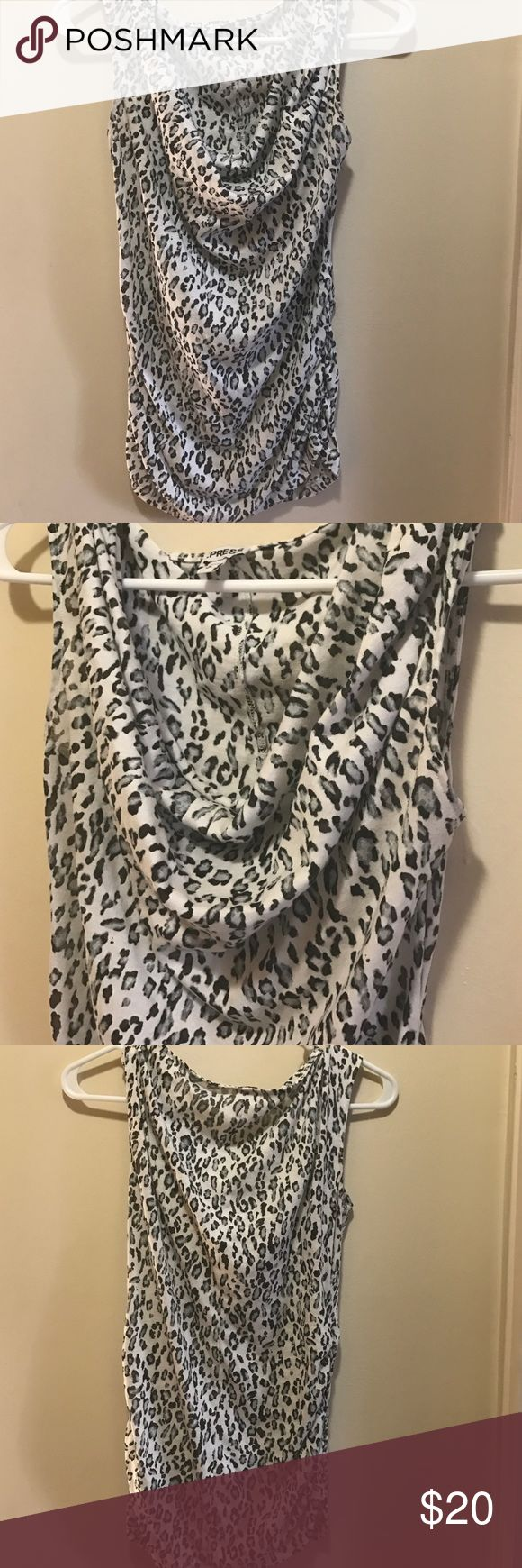 Gorgeous snow leopard print shirt blue white black Cute snow leopard print top draping neck sleeveless great for work or night out Express Tops Tees - Short Sleeve