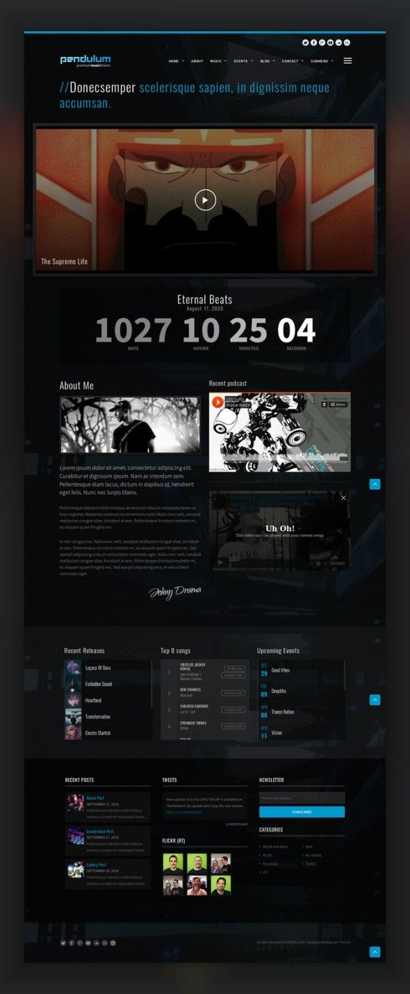 Pendulum - Responsive Music Wordpress Theme for Bands and Djs bands, clubbing, dark, dj, djs, drum and bass, electro, events, mp3 player, music, musicians, producer Pendulum – it is a modern WordPress Music theme which was created for the people who love music: DJs, producers, musicians, music clubs and for everyone who is fascinated with music as well. It is also possible to use the template for construction of the modern portfolio. Music ...