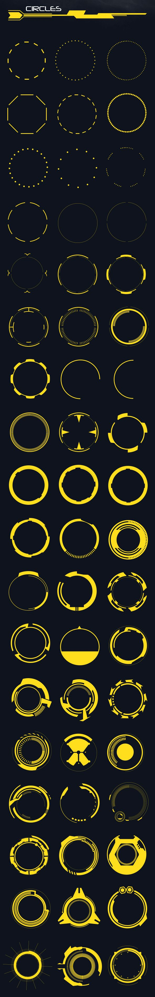60 Hi-Tech Circles (Custom Shapes) - Shapes #Photoshop Download here: https://graphicriver.net/item/60-hitech-circles-custom-shapes/20461121?ref=alena994