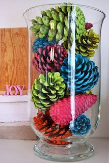 Painted pine cones for christmas mom these would look great half teal and half brown for the living room decorations: