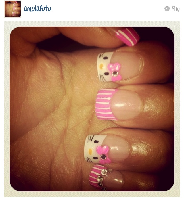 pink hello kitty nails Hello kitty nails, Nail art for