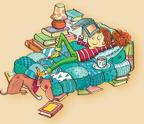 Saturday: relax and read / Sábado: relax y lectura (ilustración de Joëlle Dreidemy)