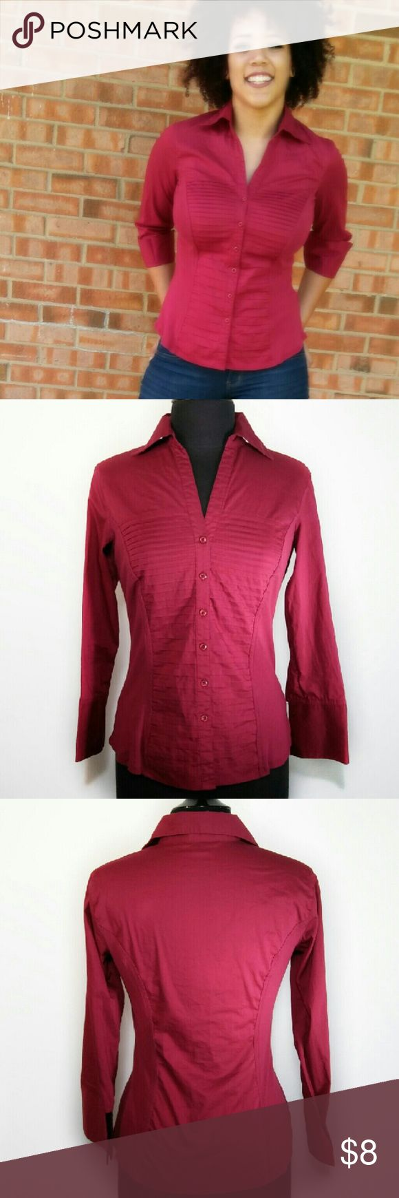Red Military Style Button-up Blouse Military style top has several unique design features: pleated front, jersey sides (gives it a fitted silhouette) and three quarter sleeves with wide cuffs. Blouse is true red, 68% cotton, 27% polyester, 5% spandex. Excellent used condition! Tops Blouses