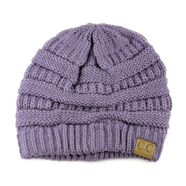 Women's Riverberry Chunky Cable Knit Beanie ($14) ❤ liked on Polyvore featuring tops, purple, slouchy tops, unisex tops, short tops and purple top