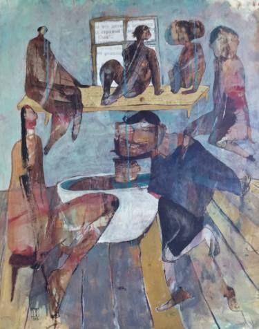 Ilya Volykhine, The Bath House, 2016 Painting, 112 H x 89 W x 7cm $4,500 on ArtStack #ilya-volykhine #art