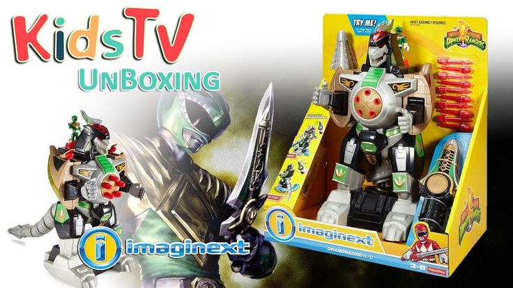 Gideon and Logan unbox and play with the Imaginext Mighty Morphin Power Rangers Dragonzord  Its Morphin Time! With the Dragon Dagger remote control in hand kids can make the mighty Dragonzord go forward backward light up and more! Turn the Power Pad to open the cockpita perfect spot for the Green Ranger to lead the charge!   Push the button to rapid-fire 5 missiles in a row sending enemies running for cover. Had enough Goldar? Shake the Dagger to send the Zord into his iconic battle spin and…