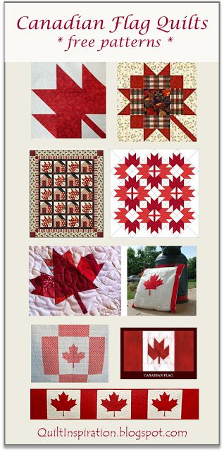 Free Pattern Day:  Canadian flag quilts & maple leaf blocks at Quilt Inspiration