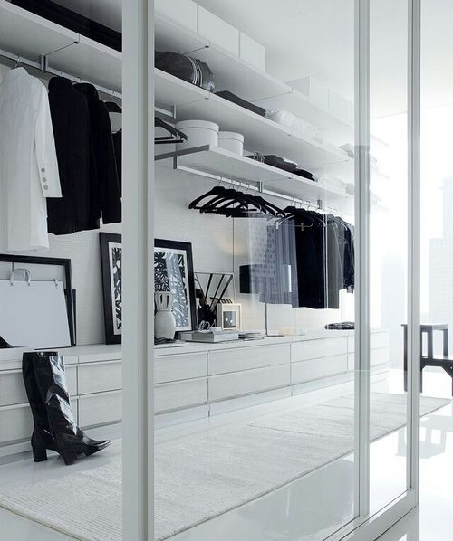 minimalist walk-in wardrobe with glass doors