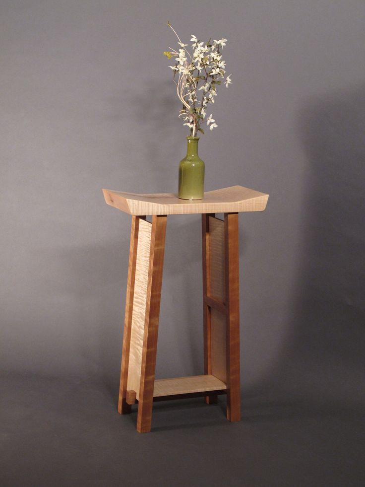 Small Side Table: Tiger Maple & Cherry Narrow End Table, Accent Table, Entry Table- Handmade Wood Furniture- SHAPED COLLECTION by MokuzaiFurniture on Etsy https://www.etsy.com/listing/102809578/small-side-table-tiger-maple-cherry
