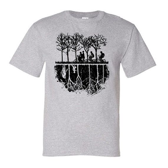 The perfect tee for Stranger Things fans! This Silohuette Tee features the boys on the search for Will as the Upside down reveals his location.