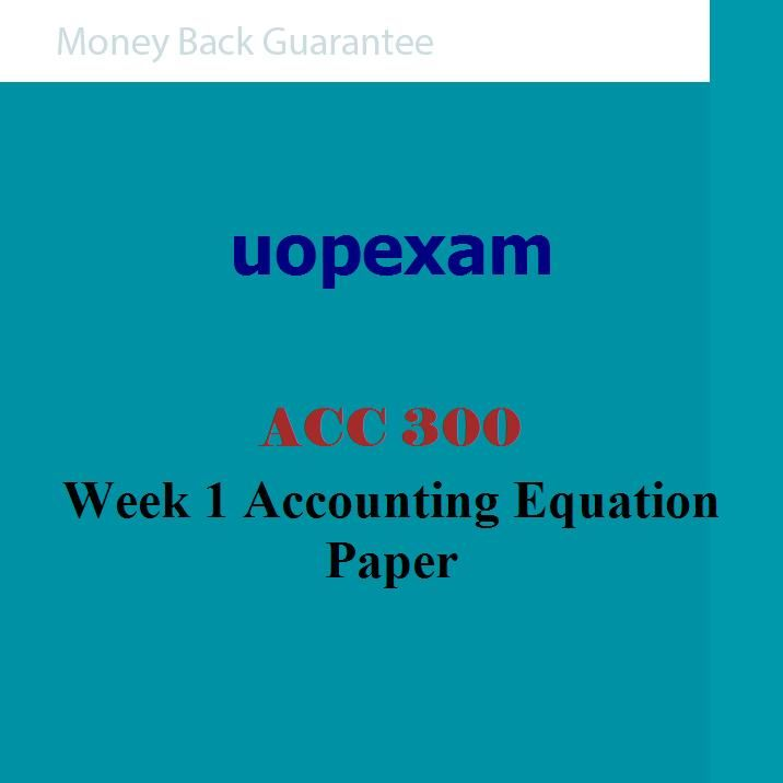 accounting equation pap acc 300 View essay - acc 300 wk 2 accounting equation paper from acc 300 at university of phoenix 1 accounting equation paper zachary bloom acc/300 may 11th, 2015 arnold gilbo 2 accounting equation.