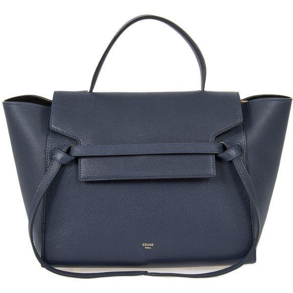 Medium Navy Grain Calfskin Belt Bag (23.918.375 IDR) ❤ liked on Polyvore featuring bags, handbags, blue, celine, hand bags, round handbags, celine handbags, round purse and celine bag