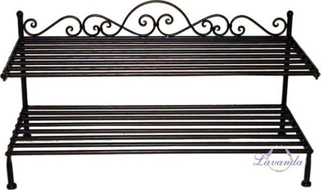 Kovový regál, regál na topánky, jednoduchá konštrukcia, čierna, botník