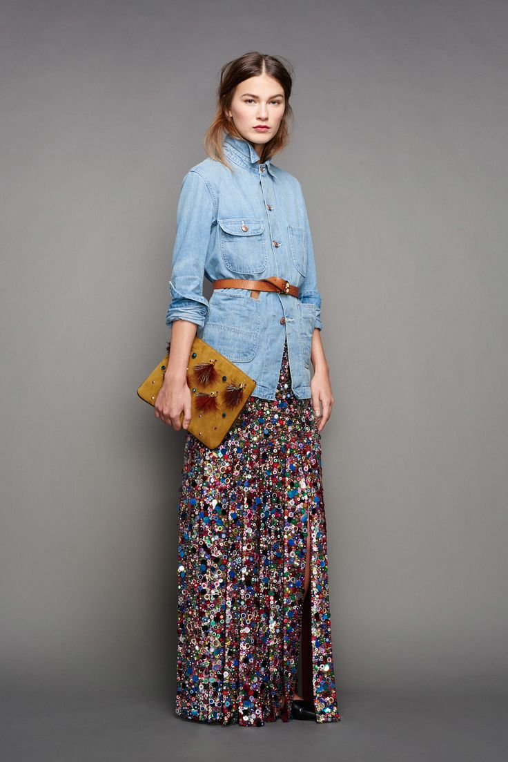 J.Crew | Fall 2015 Ready-to-Wear | 27 Blue denim 3/4 sleeve shirt and multicolored embellished maxi skirt