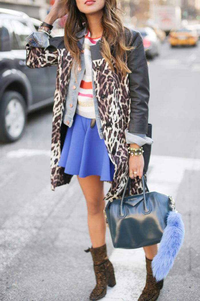 Leopard Coat Neoprene Skirt New York Fashion Week Song Of Style Pinterest Skirts New