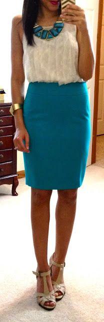 Top via GAP, skirt via LOFT, pumps via Kohl's, necklace via Burlington Coat Factory, bracelet via Francesca's