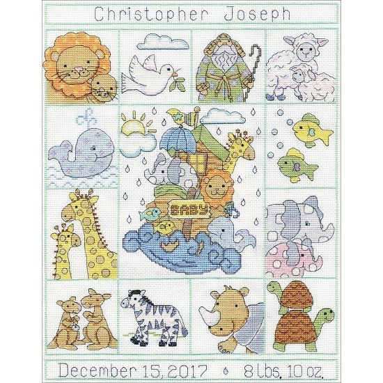 click here to view larger image of Noahs Ark Sampler Birth Record (counted cross stitch kit)