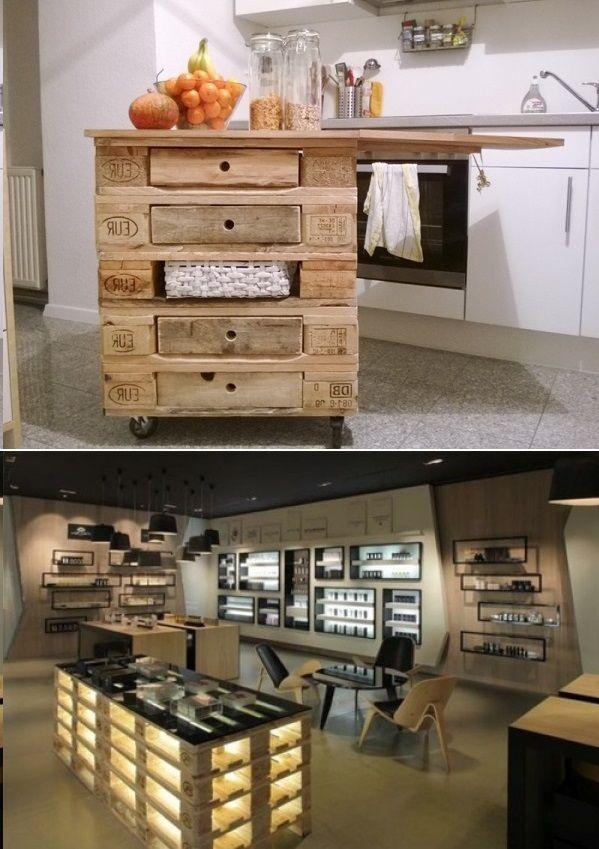 kitchen island of pallets palletten kommode regal mit schubladen k cheninsel diy wohnung. Black Bedroom Furniture Sets. Home Design Ideas