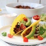 Taco med kjøttdeig, bønner og tomat