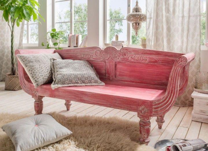 Elegant Originelle Sitzbank aus Holz im angesagten Shabby Look in Altrosa Jetzt online bestellen