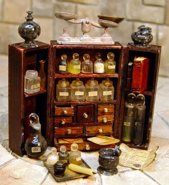 Miniature Apothecary Cabinet by Ev Miniatures