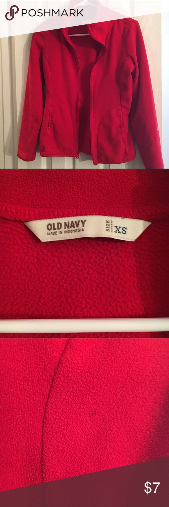 Red, Old Navy Fleece Jacket Red, old navy fleece jacket. Two pockets and zips up the front. Good used condition. Small spot as pictured, but not too noticeable. Size XS. Old Navy Jackets & Coats