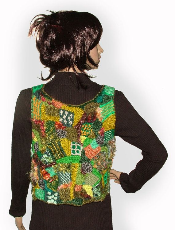 Womens Multicolor Green Patchwork Freeform Crochet by rensfibreart