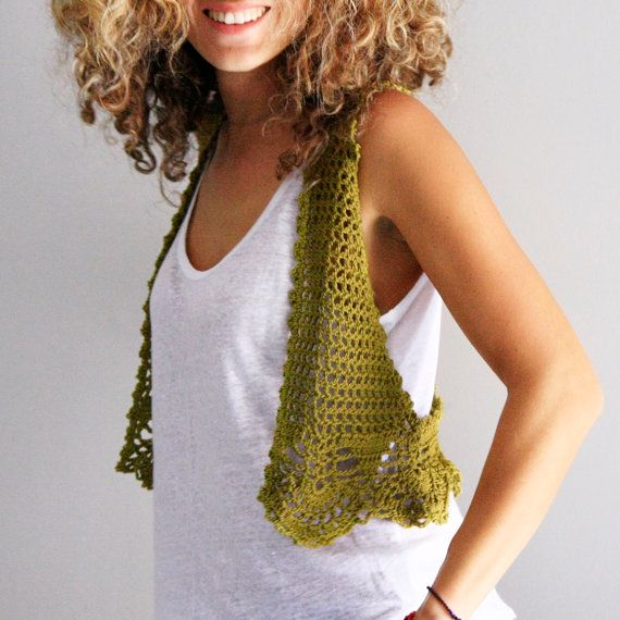 Crochet vest boho vest festival wear crochet cropped by polixeni19