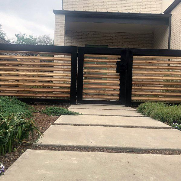 Top 60 Best Front Yard Fence Ideas Outdoor Barrier Designs In 2020 Modern Front Yard Front Yard Fence Fence Design
