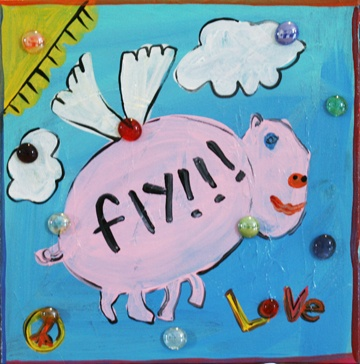 Fly! on canvas. Designed by Maya Collins, an 8-year old in remission from Acute Myeloid Leukemia (AML). Maya is the Leukemia and Lymphoma Society's Honorary Hero for the Flying Pig marathon in Cincinnati.  Proceeds of the sale of Maya's work go to the Leukemia and Lymphoma Society. To see her complete collection and to read her story, please visit www.mayagracecollins.com.
