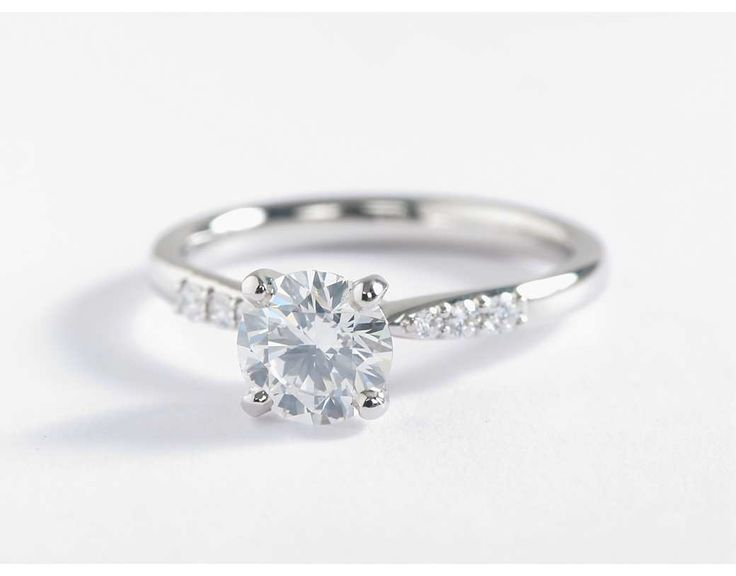 Petite Diamond Engagement Ring in 14k White Gold 1 10 ct tw