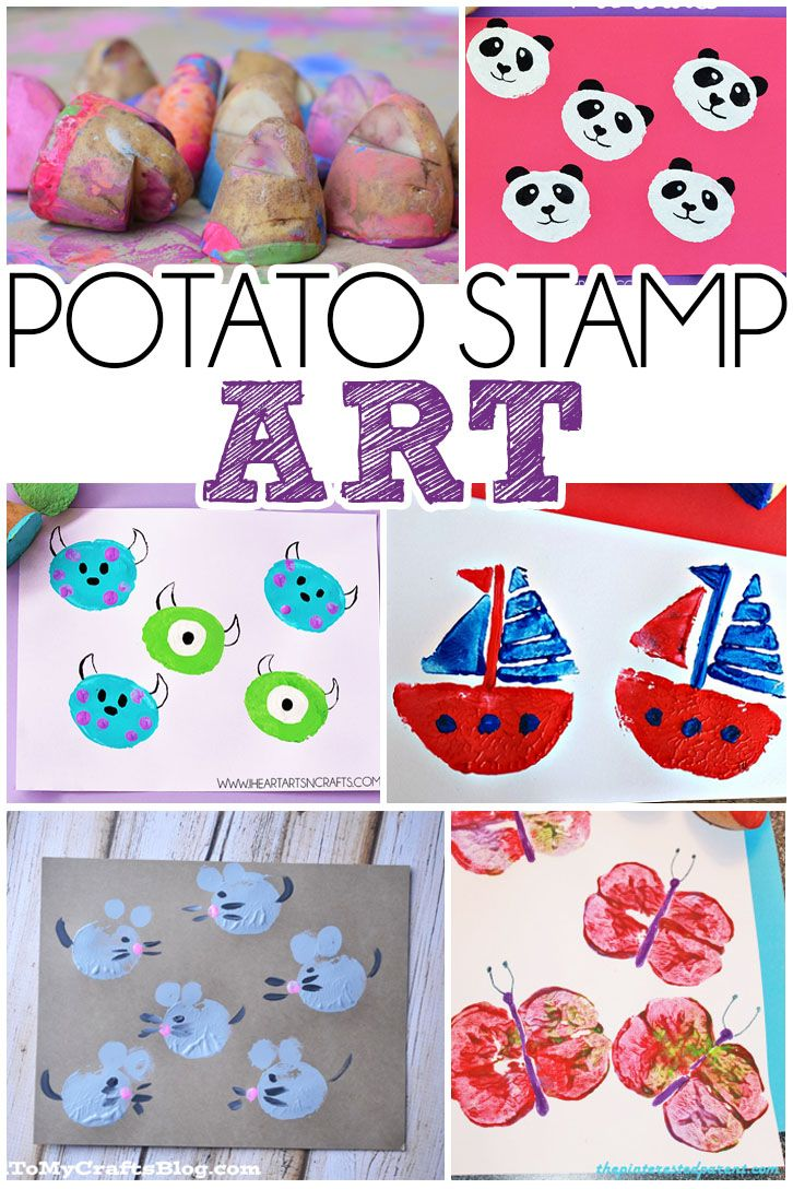 Over 15 Colorful Kid's Craft Ideas for making art with potato stamps!