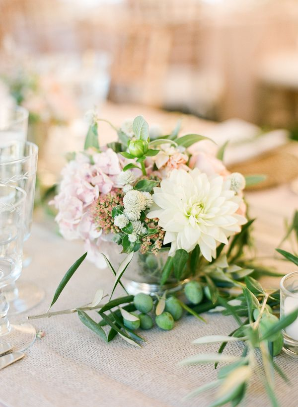 Small white wedding centerpiece gardens olives and