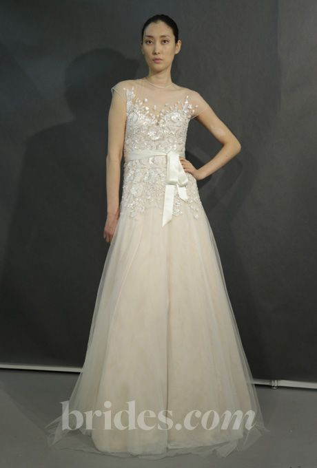 Brides.com: Kevan Hall White Label Wedding Dresses - 2013 Organza A-line wedding dress with floral embroidered bodice and a high illusion neckline and cap sleeves, Kevan Hall White Label Wedding Dresses  See more Kevan Hall wedding dresses in our gallery.Photo: George Chinsee