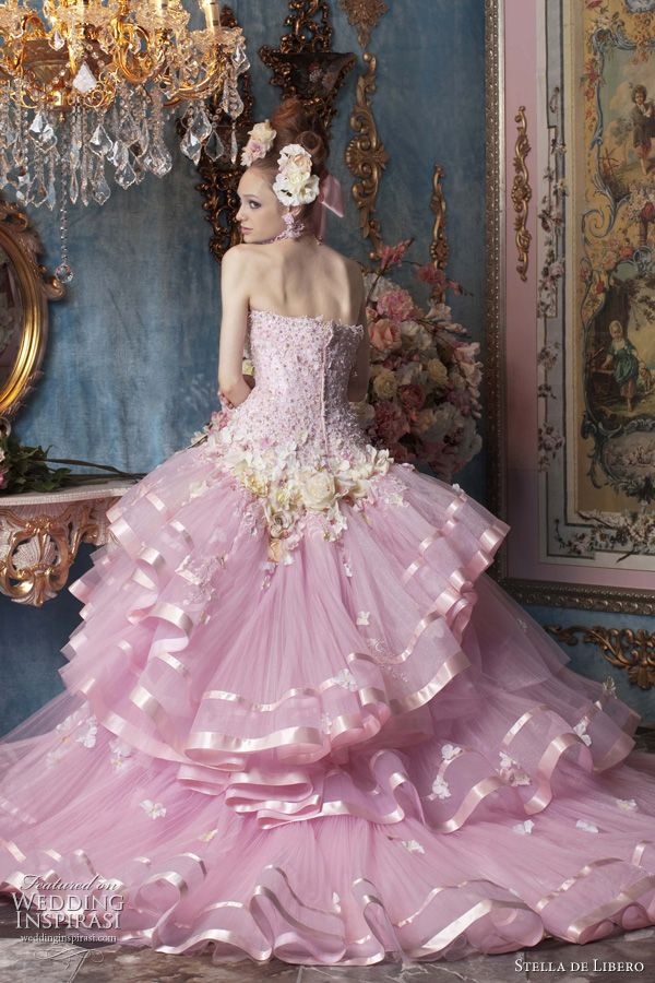 pink wedding dress with satin edge tulle ruffle skirt