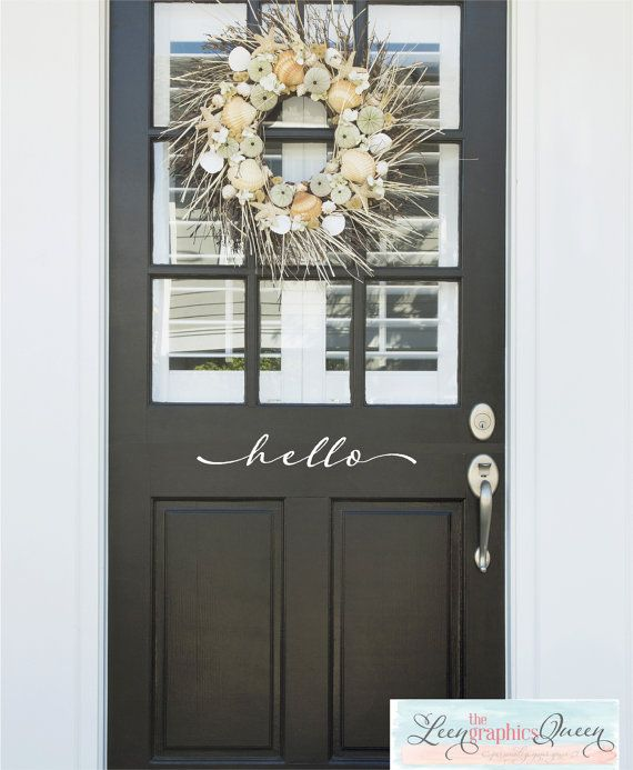 Hello Front Door Decal Script Lettering by LeenTheGraphicsQueen                                                                                                                                                                                 More
