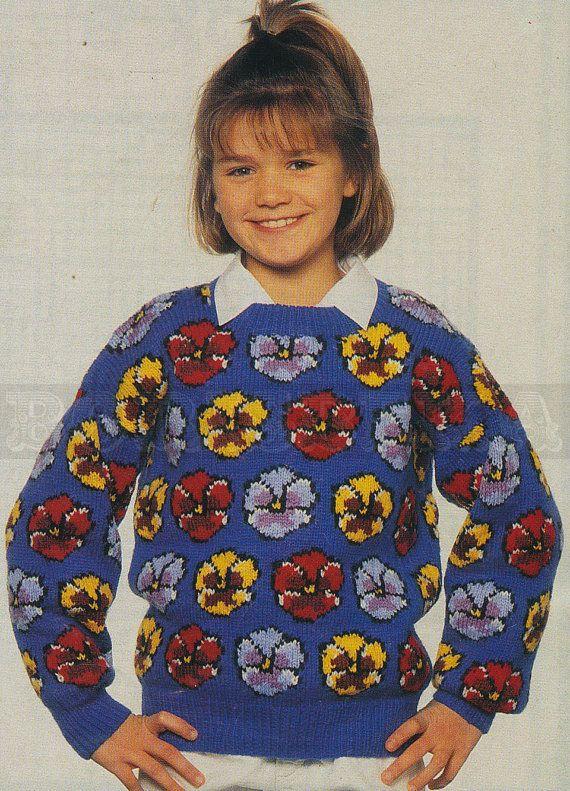 vintage Adult & Childs PANSIES jumper knitting by borisbeka, $3.50