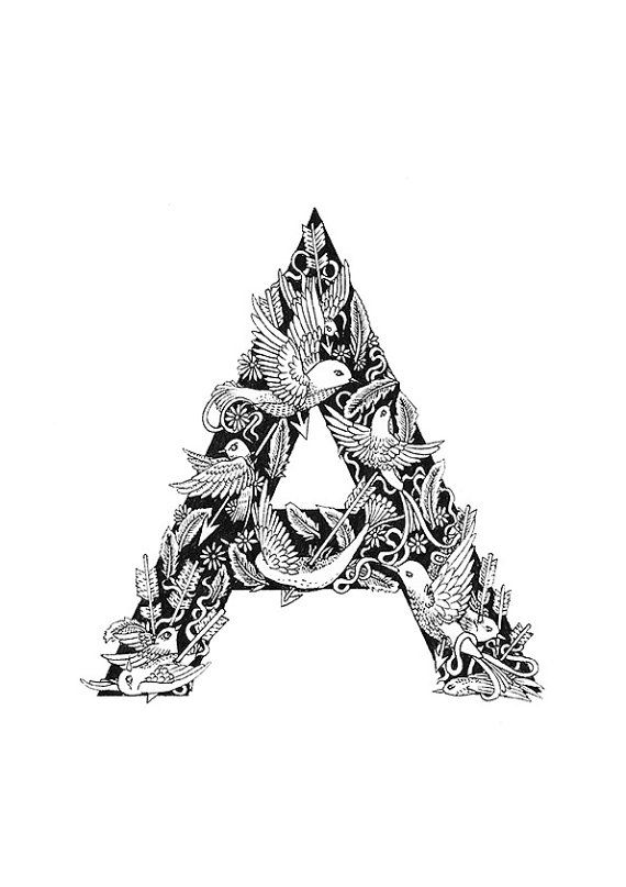 A4 A is for Arrows Typographical Illustrations by MenisArt on Etsy