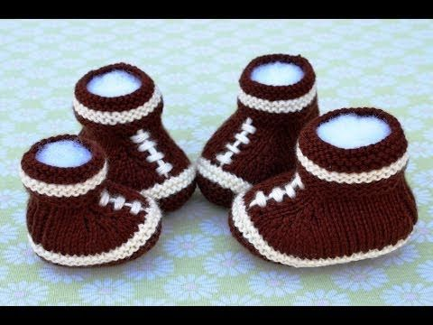 How to Knit Football Baby Booties Part 3 - YouTube