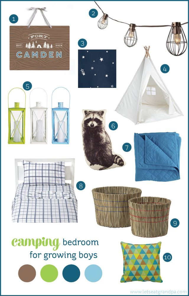 Camping bedroom inspiration for growing boys  #roommakeover #boysroom #glamping