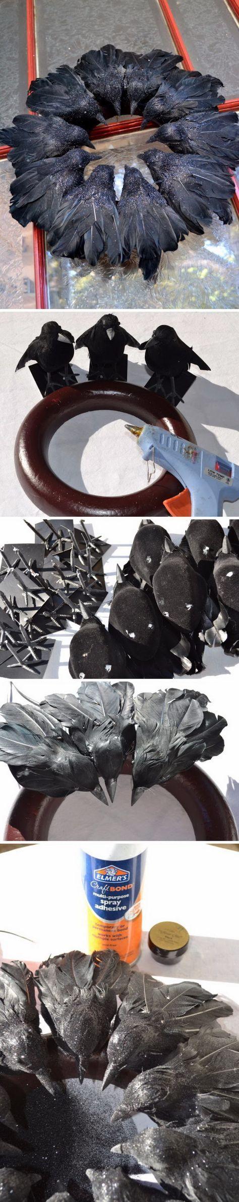 DIY Elegant Raven Wreath from Dollar Store Black Birds. More