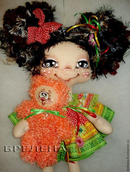 Кукла Хозяйка Рыжего кота. - интерьерная кукла,текстильная кукла,забавная игрушка