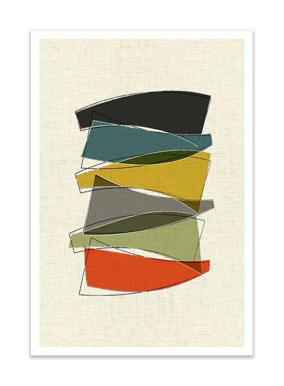 PILE-Giclee Print-Mid Century Modern Danish Danish Minimalist Cubist Modernist Eames Retro Abstract